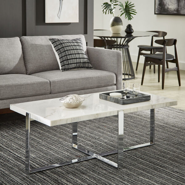 Diana Chrome Marble Top Framed Cocktail Table, image 5